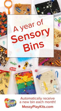 This Sensory Bin subscription provides fun & learning for kids! Materials for creativity, dramatic play, fine motor skills! Subscription box for kids / Learning Toy / Activity Kit / Sensory Bin Ideas / Sensory Play for Kids #messyplaykits #sensorybin