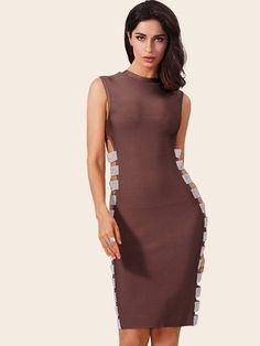 3fb6168450c7 Cut-out Sequin Detail Bodycon Tank Party Bandage Midi Dress - Popviva  #SequinDress #