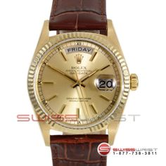 Rolex Men's Yellow Gold Day Date President Champagne Stick Dial & Fluted Bezel On A Brown Leather Band 18038 Model (18038-009) - See more at: http://www.swiss-wrist.com/men's-rolex/men's-day-date-presidents/18038-chm-stk-brl.html#sthash.nlHg5v17.dpuf