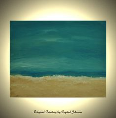 Seascape 20x16 Acrylic Abstract Original Canvas Painting Turquoise Painting Beach Art Ocean Tropical