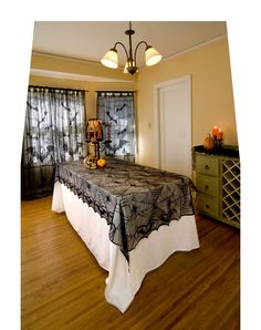Jazz up your table setting when you add this black Lace Spider Web Tablecloth to the scene. Halloween is only once a year, but you can decorate like it lasts forever with this awesome tablecloth! Teen Halloween Party, Halloween Celebration, Halloween Table, Diy Halloween Decorations, Holidays Halloween, Vintage Halloween, Halloween Ideas, Halloween Masquerade, Haunted Halloween