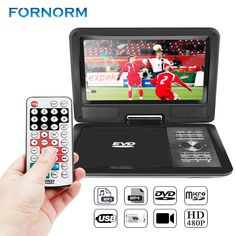 """FORNORM 9"""" 720P LCD HD DVD Player 270 Degree Swivel Screen Portable TV Game Radio supported Player with EU/US/UK Plug optional"""