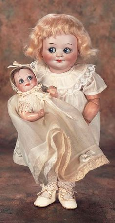 """View Catalog Item - Theriault's Antique Doll Auctions - german googly dolls, 13"""" and 6"""""""