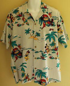 Vintage Rare Barefoot Paradise Disney Mickey Mouse Island Hawaiian Camp Shirt 1X | eBay