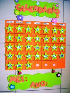 EDUCAÇÃO INFANTIL CRIATIVA: Modelo de calendário para Educação ... Class Decoration, School Decorations, Classroom Organization, Classroom Decor, Classroom Calendar, Dora, Spanish Lessons, Delaware, Pre School