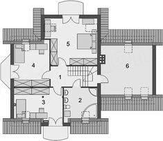 Rzut poddasza projektu Cezar Terrace, House Plans, Floor Plans, Hair, Design, Projects, Prefabricated Home, Log Houses, Blueprints For Homes