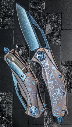 Marfione Custom Matrix-R Dragon Skin Damascus MokuTi Handle Microtech EDC Folding Custom Pocket Knife Blade