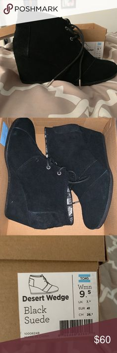b7f06c132e1 Shop Women s Toms Black size Ankle Boots   Booties at a discounted price at  Poshmark. Description  Toms Desert Wedge in Black Suede in Like New  Condition.