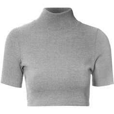 Grey Marl Turtle Neck Crop Top (69 BRL) ❤ liked on Polyvore featuring tops, t-shirts, crop top, shirts, grey, polyester t shirts, slim t shirts, crop shirt, crop t shirt and grey t shirt
