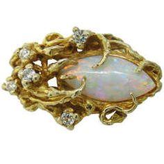 Opal Diamond Free Form Gold Ring