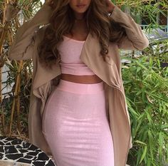 Pink crop top + skirt + nude cardigan.