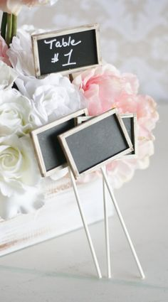 These would work great for the silly signs guest can make at photo booth -SET of 12 Rustic Chic Chalkboards On Sticks Table by braggingbags, $48.00
