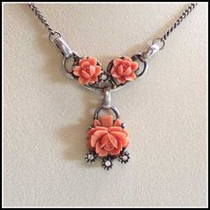 Celluloid Jewelry   Coral Rose Necklace Celluloid Lavalier 1950s Vintage Jewelry (13033)