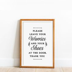 Please Leave Your Worries And Shoes, Please Remove Your Shoes, No Shoes Sign, Shoes Off Sign, Remove Shoes Off Sign, Remove Shoes Sign, Printable Art, Printables, Painted Wooden Signs, Letter Size Paper, New Year Card, Printed Materials, Etsy App