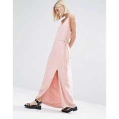 Selected Deisa Strappy Back Maxi Dress (£47) ❤ liked on Polyvore featuring dresses, pink, loose dresses, spaghetti-strap maxi dresses, v neck dress, racerback dress and rayon maxi dress