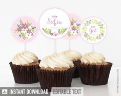 Floral Baby Shower PRINTABLE Cupcake Toppers - My Party Design