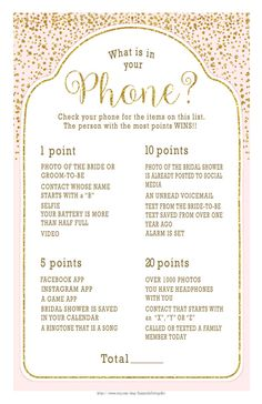 whats in your phone bridal shower game with glittery gold accents and a pale blush color wedding shower game 29 br