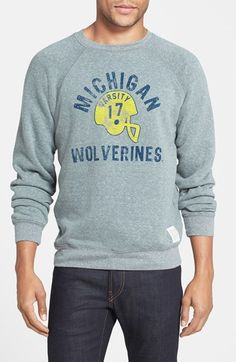 Retro Brand 'Michigan Wolverines Football' Slim Fit Raglan Crewneck Sweatshirt at Nordstrom.com. Go Blue! A weathered throwback logo lets you rep your team in style with a raglan-sleeve crewneck sweatshirt cut from a soft, fleece-like triblend.
