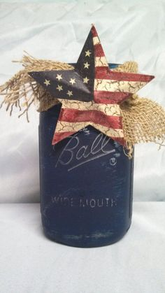 Mason Jar Painted Vintage Dark Blue Vase with by TheFloralTouch, $12.95