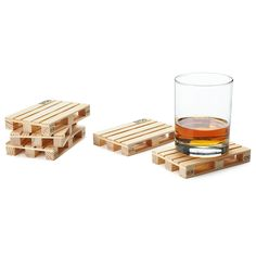 Pallet Coasters: This set of five Pallet Coasters ($22) mimics the wooden pallets found in warehouses. Wood Pallets, Pallet Wood, Wooden Pallet Projects, Wooden Pallet Furniture, Pallet Crafts, Pallet Ideas, Warehouses, Popsicle Stick Crafts, Popsicle Stick Coasters