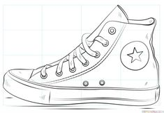 How to draw a Converse shoe step by step. Drawing tutorials for kids and beginners.