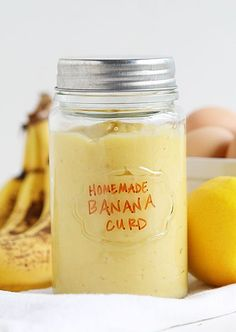 Fresh Homemade Banana Curd by i am baker Homemade Banana Pudding, Banana Recipes, Jam Recipes, Canning Recipes, Sweet Recipes, Banana Spread Recipe, Banana Custard Recipe, Chef Recipes, Dessert Sauces