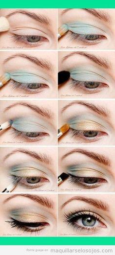 Tutorial paso a paso, maquillaje de ojos en tonos naranja y azul pastel