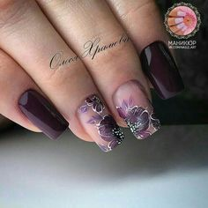 Floral Purple Nails