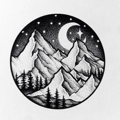New Tattoo Moon Pontilhismo Ideas Mountain Drawing, Tattoo Mountain, Stippling Art, Stippling Tattoo, Pen Art, Cool Drawings, Drawings Of Stars, Dotted Drawings, Doodle Art