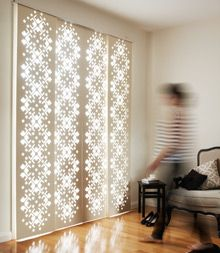 The DecoGlide™ is a sliding screen system composed of intricately laser cut screens fixed to a minimalist head track.