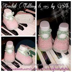 Crochet Tatting by Ale: Ballerine rosa e verdi in lana baby - istruzioni