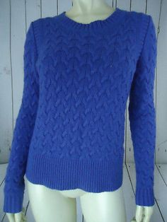 J CREW Sweater S Royal Blue Pullover Cable Knit Viscose Wool Angora Blend SOFT!