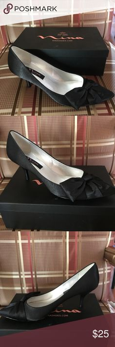 NWOT Nina black satin shoes Great pair of black satin shoes. Never worn- comes in original box and includes two shoe bags. Nina Shoes Heels