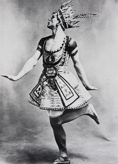 Vaslav Nijinsky in costume designed for the Ballets Russes production Le Dieu Bleu by Leon Bakst, c. 1912)