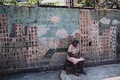Woman Sitting Street Summer