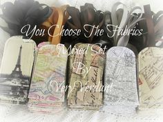 10 Luggage Tag Favors - You Choose The Fabrics - Mixed Set - Travel Theme -