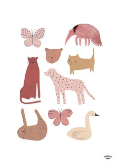 Pink animal poster by Goodness Gang Amsterdam, The Netherlands Pink Animals, Animals For Kids, Art And Illustration, Animal Illustrations, Crocodile Illustration, Guache, Poster S, Kids Poster, Animal Posters