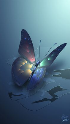 Blue Glowing Butterfly iPhone Wallpaper