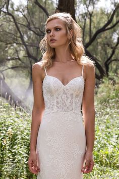 limor rosen 2017 bridal spagetti strap sweetheart neckline full embellishment lace elegant mermaid wedding dress scoop back chapel train (holly) zv