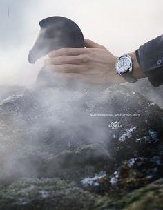 "Metamorphosis, an Hermes Story. ""Dressage"" chronograph in steel, silvered dial, mat alligator strap. Hermès 2014 autumn-winter campaign. #hermes"