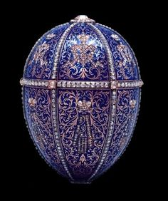 12 Monograms Faberge Egg was made for Nicholas II to give to his mother Maria in 1895. It was completed in only six months by adapting the planned egg on the death of Alexander III. The surprise is missing.