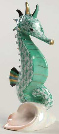 Herend China, Seahorses, Aqua, Porcelain, Trees, Hand Painted, Colours, Google, Painting