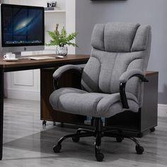 Latitude Run® Dalmar Executive Chair & Reviews | Wayfair Grey Desk Chair, Computer Desk Chair, Gaming Chair, Rolling Chair, Ergonomic Office Chair, Executive Chair, Chair Upholstery, Chair Design, Big People