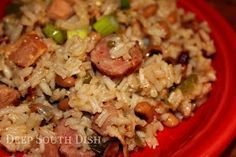 Our Deep South version of the low country favorite, Hoppin' John, this Black-eyed Pea Jambalaya contains bacon, ham, spicy smoked sausage, black-eyed peas and rice.