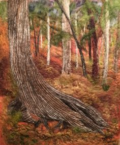 Needle felted landscape picture.  Old cedar tree in Jay Cooke state park in Minnesota