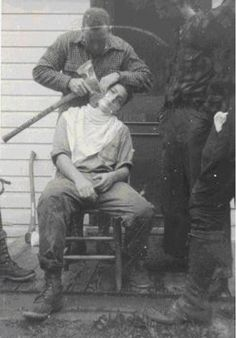 Lumberjack Shaving With An Axe, 1930s | vintage 30s mens clothing | pants + boots