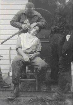 Bûcheron raser avec une hache, 1930 | 30s Vintage Clothing mens pantalons | + chaussures
