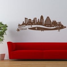 Style and Apply Austin Skyline Wall Decal Color: Pastel Orange