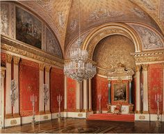 The Peter Hall of the Winter Palace (painting by Edward Hau) : The Small Throne Room of the Winter Palace is dedicated to Peter the Great, with wall coverings of deep red velvet embroidered with the Romanov Imperial eagle.