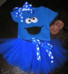 Baby Cookie Monster Costume with body suit tutu and by KidarooToo